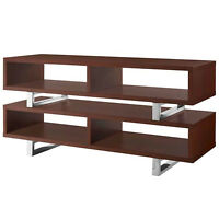 "47"" Modern Open Design LED LCD DLP HD Walnut TV Stand Credenza Media"