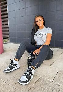 Ladies Womens T-shirt Jadore Print Short Sleeve Tee Shirt grey size 14