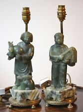 Rare pair Chinese carved soapstone table lamps Cultural Revolution era, 1960's