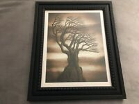 """Dead Tree on Rock Sepia Brown Matted and Framed Print, Dark Pagan Goth, 14""""x17"""""""