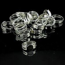 100Pcs 16mm Silver Plated Adjustable Flat Pad Ring Bases DIY Blank Findings VJ