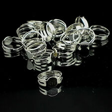 100Pcs 16mm Silver Plated Adjustable Flat Pad Ring Bases DIY Blank Findings TB