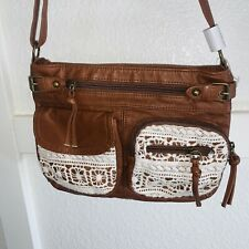 Small Shoulder Hand Bag Brown Faux Leather Satchel Bag With Floral Lace ZIP Up