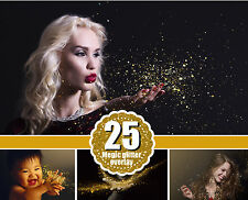 25 Gold blowing glitter Photoshop Overlays, magic pixie dust effect, png