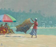 """NUOVO ORIGINALE Michael Richardson olio """"Batik sulla spiaggia lo Sri Lanka PITTURA India"""