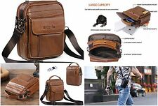 Belt Pouch Bag Messager Genuine Leather Smart Phone Holster Men Travel Brown