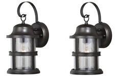 NEW 2 Pack Bronze Outdoor Wall Mount Lantern Lights! Sconce Exterior Glass Lot