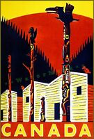 Canada Totem Pole Vintage Canadian Travel Poster Print Retro Style Wall Decor