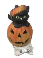 VINTAGE Matrix 1996 Halloween Foam Jack O Lantern Pumpkin With Cat Lighted Prop