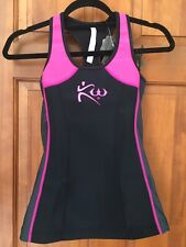 Kutting Weight Sauna Suit Weight Loss Neoprene Black & Pink Exercise Tank Top XS