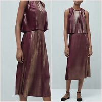 Co-ord Burgundy Metallic Pleated Top Midi Skirt Mango Size S 10 US Zara Blogger❤