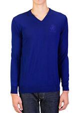 Roberto Cavalli Men's  V-Neck Wool Sweater Blue