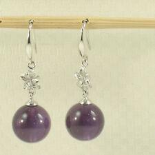 14k White Gold Hawaiian Plumeria Genuine Purple Amethyst Hook Earrings TPJ
