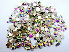 450 pcs 2mm 6mm Resin Crystal AB round Nail Art Mixed Flatbacks Rhinestones Gems