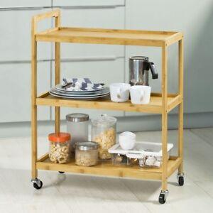 SoBuy® Küchenwagen,Servierwagen,Küchenregal,Küchenregal ,Bambus, FKW34-B-N