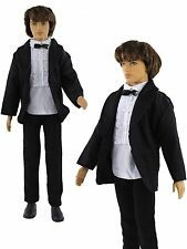 3in1 Fashion Black Suit Coat+Shirt+Pants Clothes For 12 inch Ken Doll B15b