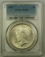 1922 Peace Silver Dollar $1 Coin PCGS MS-63 Lightly Toned (21) C