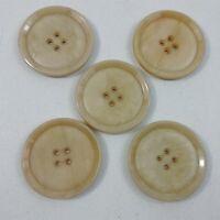 Button Lot Vintage 5 Tan Beige Large Round Plastic Buttons