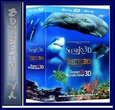 DOLPHINS & WHALES, SHARKS, OCEAN WONDERLAND TRILOGY - *3D BLU-RAY * REGION FREE*