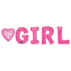 G-I-R-L Foil Mylar Balloon its a Girl Pink Bunch Baby Shower Anagram