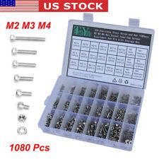 New listing 1080Pcs M2 M3 M4 M5 Alloy Steel Hex Socket Head Cap Bolt Screws Nuts Washers Kit