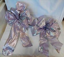 "Big Wedding Glitter Bows Michaels Stores 12"" by 9"" Lite Purple Silver Trim 11K"