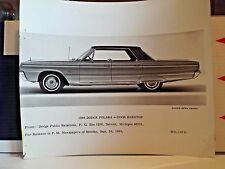 1966 Dodge Polara Original Factory Photograph --- FREE Postage in the USA