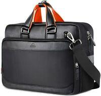 "Matein Men's Black 17"" Laptop Briefcase Office Shoulder Bag Leather Nylon"