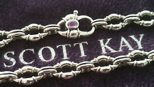 SCOTT KAY - Sterling Silver with Amethyst Clasp Chain Link Bracelet - New!