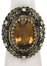 Vintage 19.36ct Diamond & Citrine Gemstone Oval 14k Gold Cocktail Ring