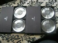 4 x Vintage Etain Zinn Roders Pewter Drinking bottle Coasters Boxed Hall Marked