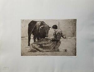 JENNI TOMAO, Original Etching, Matador, Signed