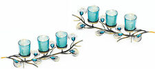2 Teal Blue Peacock feather LONG Candle holder Wedding table centerpiece decor