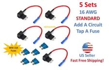 5 Set STANDARD Add-A-Circuit Fuse Tap Holder 16 AWG Gauge Car Auto Truck +15 Amp