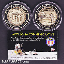 APOLLO 16 - 45th Anniversary FLOWN METAL -Limited Edition- NASA MEDALLION-COIN