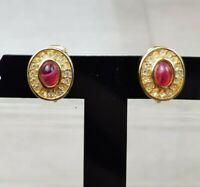 Vintage Christian Dior Grosse Red  Art Glass & Rhinestone clip on earrings