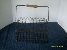 Vintage Rustic Primitive Metal Collectible Egg Basket W/Wooden Handle-Estate