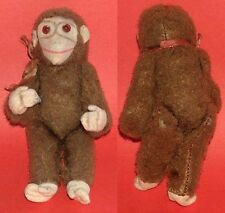 VINTAGE STUFFED MOHAIR TOY - MONKEY, PROBABLY STEIFF, BUT WITHOUT TAG AND BUTTON