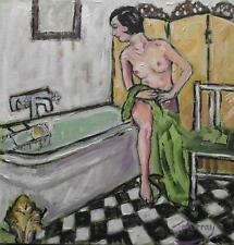 Bobbed Beauty Bathtime : Original Oil Painting on Canvas by Jane Murray