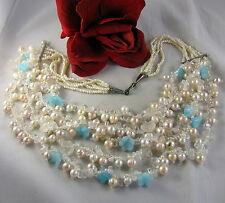 5 Strand Pearl & Quartz Flower Beaded  Necklace CAT RESCUE