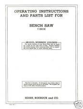 Sears Craftsman  Table Saw Manual Model # 103.0209