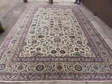 Vintage Hand Made Traditional Oriental Wool White Blue Large Carpet 430x293cm