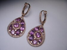 14k Yellow Gold Amethyst & Diamond Dangle Earrings