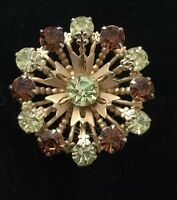 Vintage Green & Brown Pin / Brooch Gold Tone Flower
