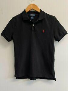 EUC Ralph Lauren BOYS Size M 10-12 Polo Shirt Black Mesh Cotton Red Pony