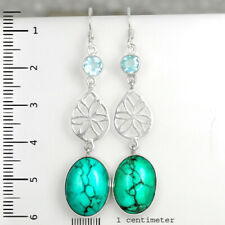 Fine HANDMADE 925 Solid Sterling Silver Jewelry TURQUOISE BLUE TOPAZ Earring