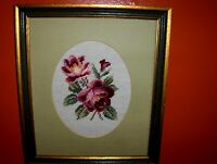 VINTAGE Red Roses Flowers STILL LIFE Hand made Oval Needlepoint Crewel Framed