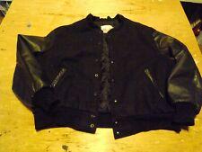 Varsity Letterman EXCELLED BLACK 70%Wool and Genuine Leather Sleeves Jacket