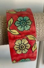 Hand-Painted Wide Wooden Red And Blue Floral Bangle Bracelet