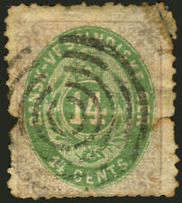 Danish West Indies #12 Lilac & Green 14c 1874-79  Rare